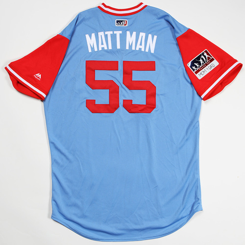 "Photo of Matt ""Matt Man"" Moore Texas Rangers Game-Used 2018 Players' Weekend Jersey"