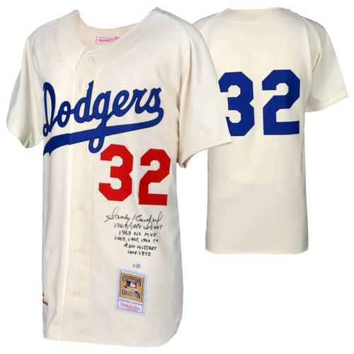 Photo of Sandy Koufax Los Angeles Dodgers Autographed Mitchell and Ness 1963 White Authentic Jersey with Multiple Inscriptions - L. E. of 32