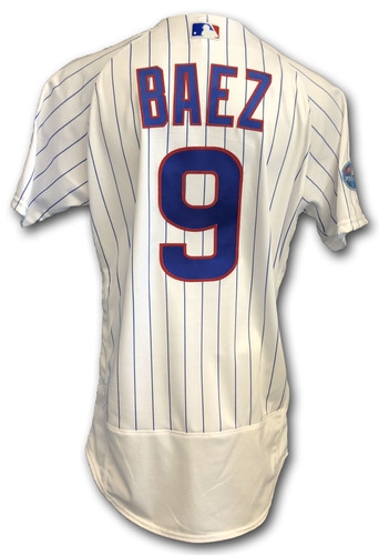 Photo of Javier Baez Game-Used Jersey -- Rockies vs. Cubs -- 10/2/18 -- 2018 Postseason Wild Card -- Double, 1 RBI
