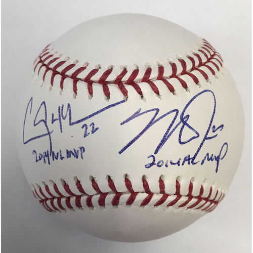 "Photo of Mike Trout ""14 AL MVP"" and Clayton Kershaw ""14 NL MVP"" Autographed Baseball"