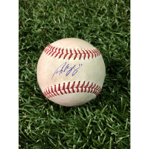 Photo of 20th Anniversary Autographed Game Used Baseball: Andrew Velazquez first career double off Ryan Borucki - September 29, 2018 v TOR