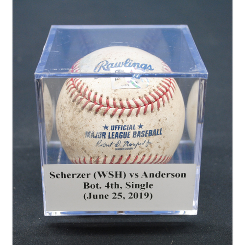 Photo of Game-Used Baseball: Max Scherzer (WSH) vs Brian Anderson, Bot. 4th, Single - June 25, 2019