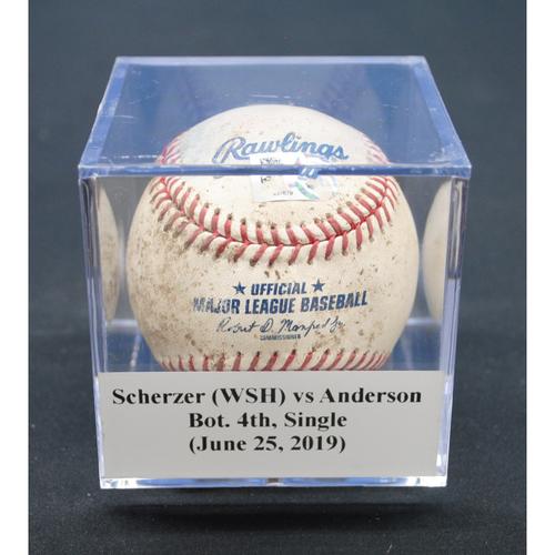 Photo of Game-Used Baseball: Max Scherzer (WSH) vs Brian Anderson, Bot. 4th, Single - June 25, 2019