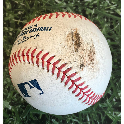Photo of Game-Used Baseball PIT@MIL 08/29/20 - Nik Turley - Keston Hiura: Hit By Pitch