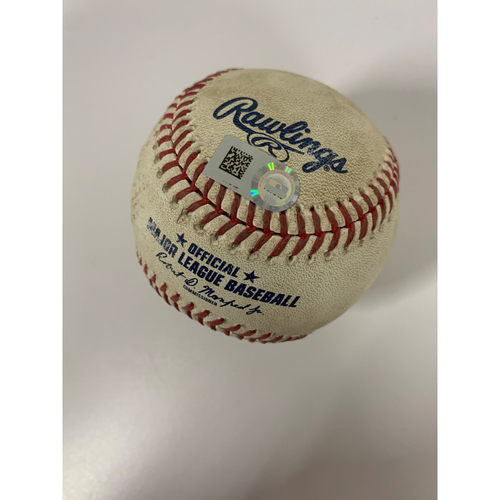 Photo of Game-Used Baseball - NYY at CLE - 9/29/2020 (ALWC Game 1) - Pitcher - Shane Bieber, Batter - Aaron Judge, Top 1, 2-Run Home Run