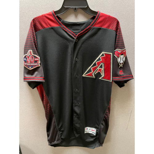 Photo of Jake Lamb 2018 Team-Issued Black Alternate Jersey - With 20th Anniversary Commemorative Sleeve Patch (Size 44)