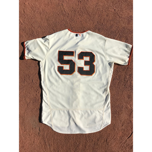 Photo of San Francisco Giants - 2017 Game-Used Jersey - #53 Austin Slater - Home Jersey - Worn 9/12 & 10/1 - Jersey Size 48