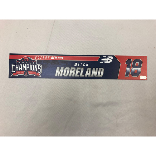 Photo of Mitch Moreland Game Used April 9, 2019 Locker Tag - Blue Jays at Red Sox