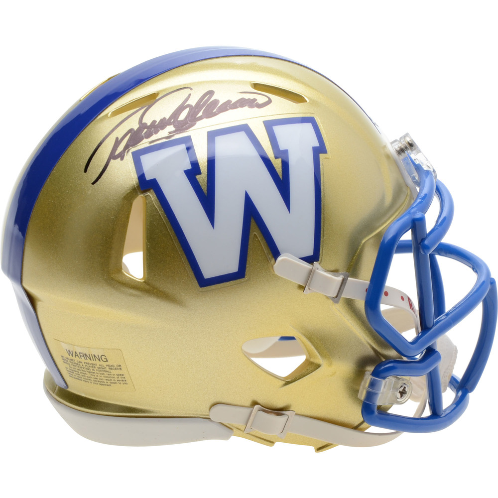 Teemu Selanne Winnipeg Jets Autographed Winnipeg Blue Bombers Mini Helmet - NHL Auctions Exclusive