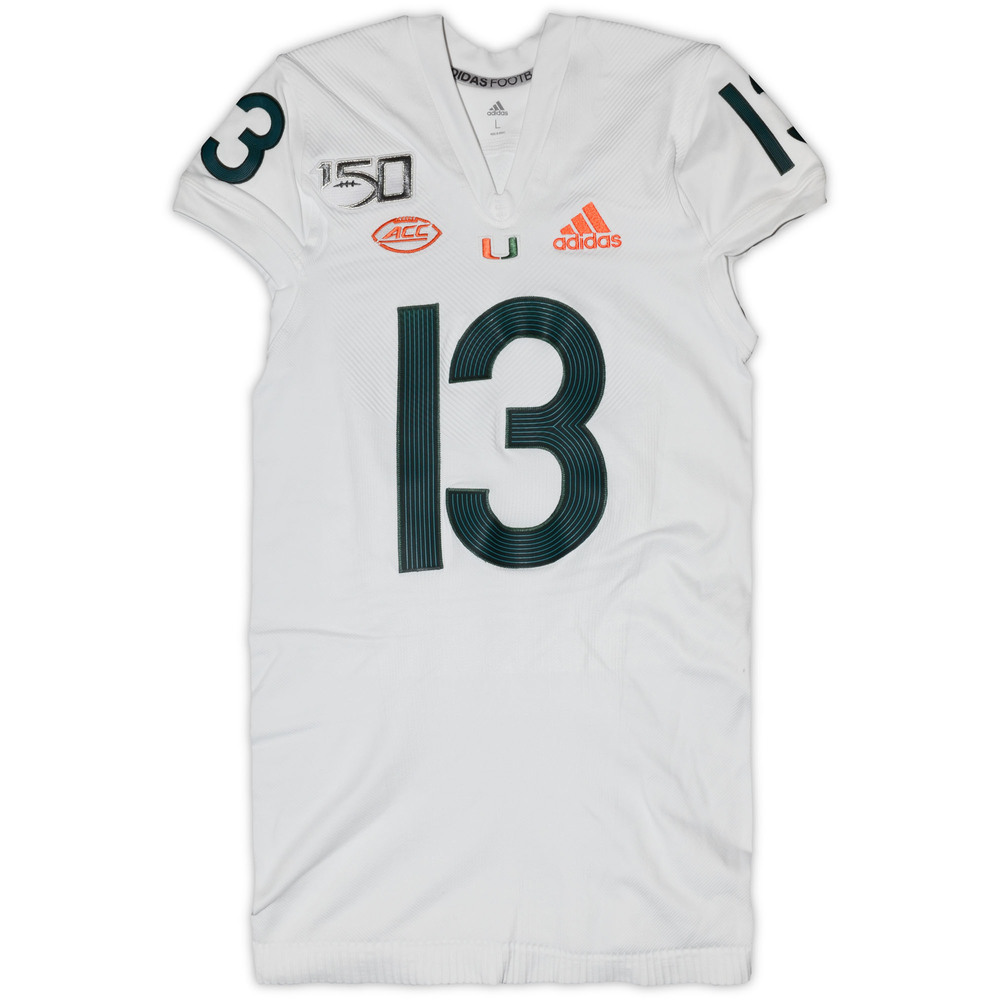 Miami Hurricanes Game-Used #13 White Parley Jersey - Size Large