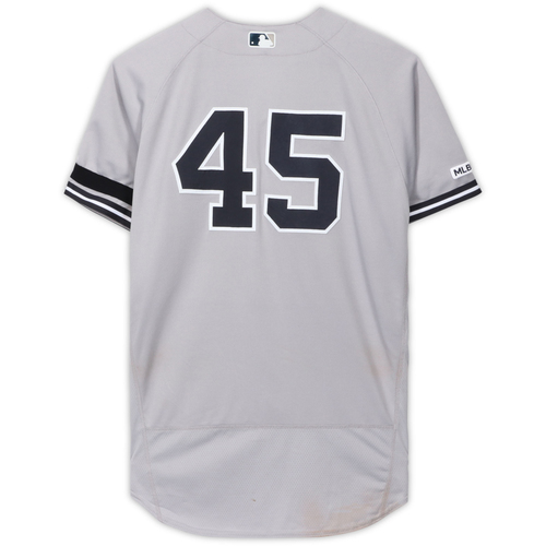 Photo of Luke Voit New York Yankees Game-Used #45 Gray Jersey vs. Kansas City Royals on May 26, 2019