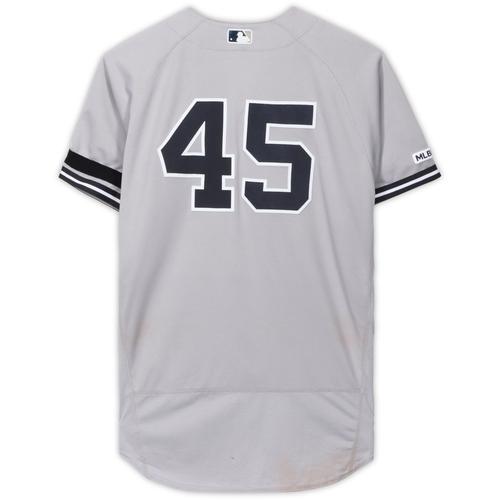 Photo of Luke Voit New York Yankees Game-Used #45 Gray Jersey vs. Kansas City Royals on May 26, 2019