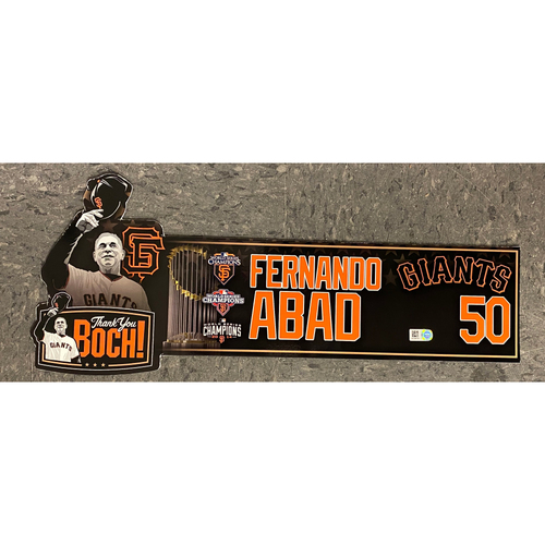 Photo of Game Used Thank You BOCH! Locker Tag - #50 Fernando Abad