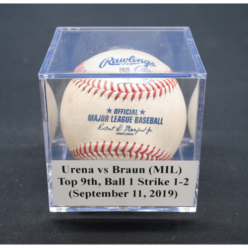 Photo of Game-Used Baseball: Jose Urena vs Ryan Braun (MIL), Top 9th, Ball 1 and Strikes 1-2 - September 11, 2019