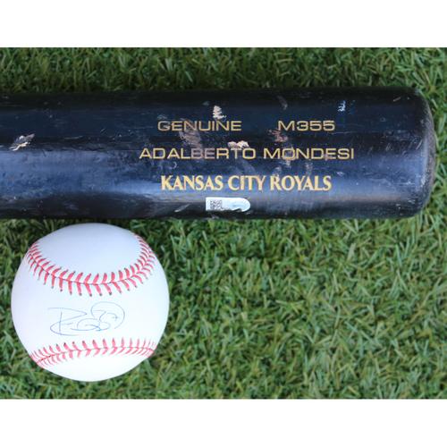 Photo of Autographed Baseball and Game-Used Broken Bat: Adalberto Mondesi (KC @ OAK - 9/16/19)
