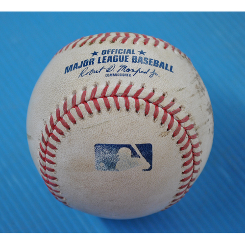 Photo of Game-Used Baseball - 2020 ALDS - New York Yankees vs. Tampa Bay Rays - Game 2 - Pitcher: Deivi Garcia, Batter: Ji-Man Choi (Foul) - Bot 1