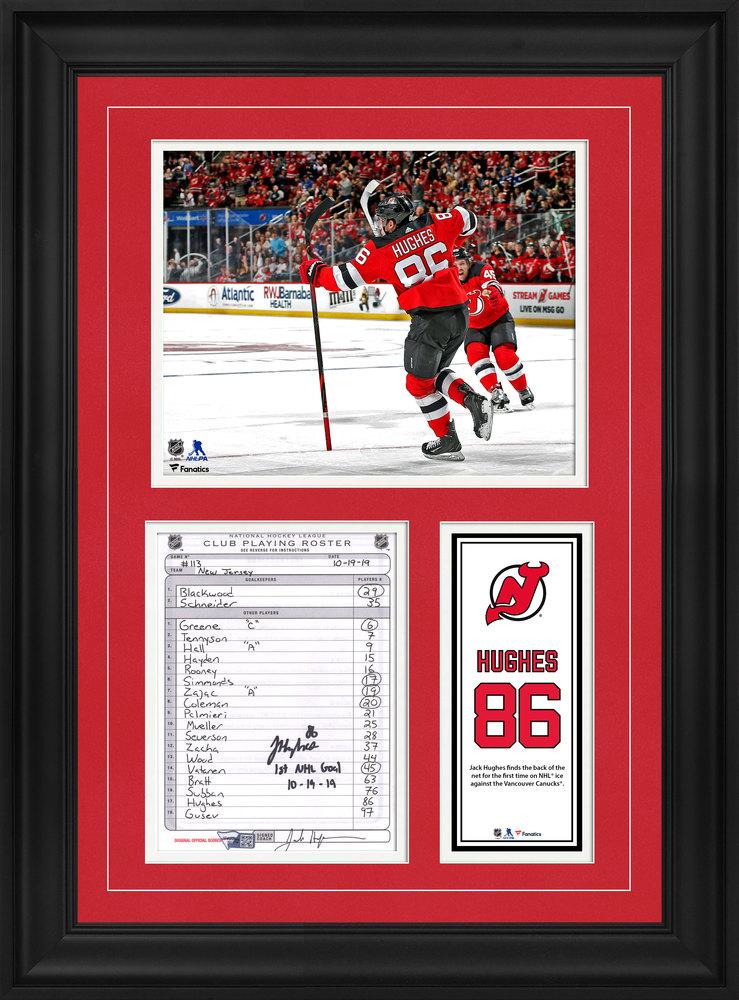 Jack Hughes New Jersey Devils Framed Autographed Original Line-Up Card from October 19, 2019 vs. Vancouver Canucks with