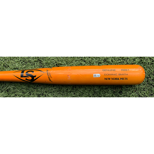 Photo of Dominic Smith #2 - Game Used Cracked Bat - Orange Louisville Slugger Model - Sam Clay to Dominic Smith - Ground Out - 8th Inning - Mets vs. Nationals - 4/24/21