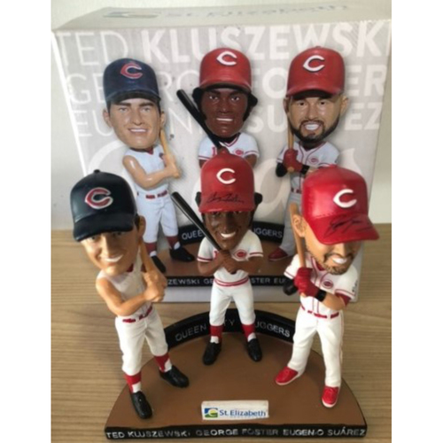 Photo of Queen City Sluggers Triple Bobblehead: Autographed by Eugenio Suarez and George Foster