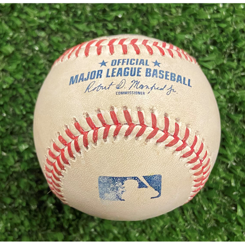 Photo of Game Used Baseball - Pitcher: Eric Lauer, Batter: Adam Duvall (Pop Out after rules review check) - 10/12/21- NLDS Game 4, Braves Win NLDS