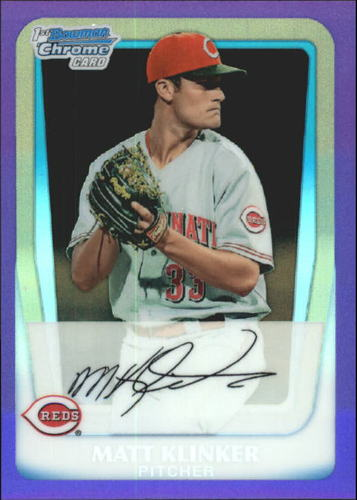 Photo of 2011 Bowman Chrome Prospects Purple Refractors #BCP77 Matt Klinker