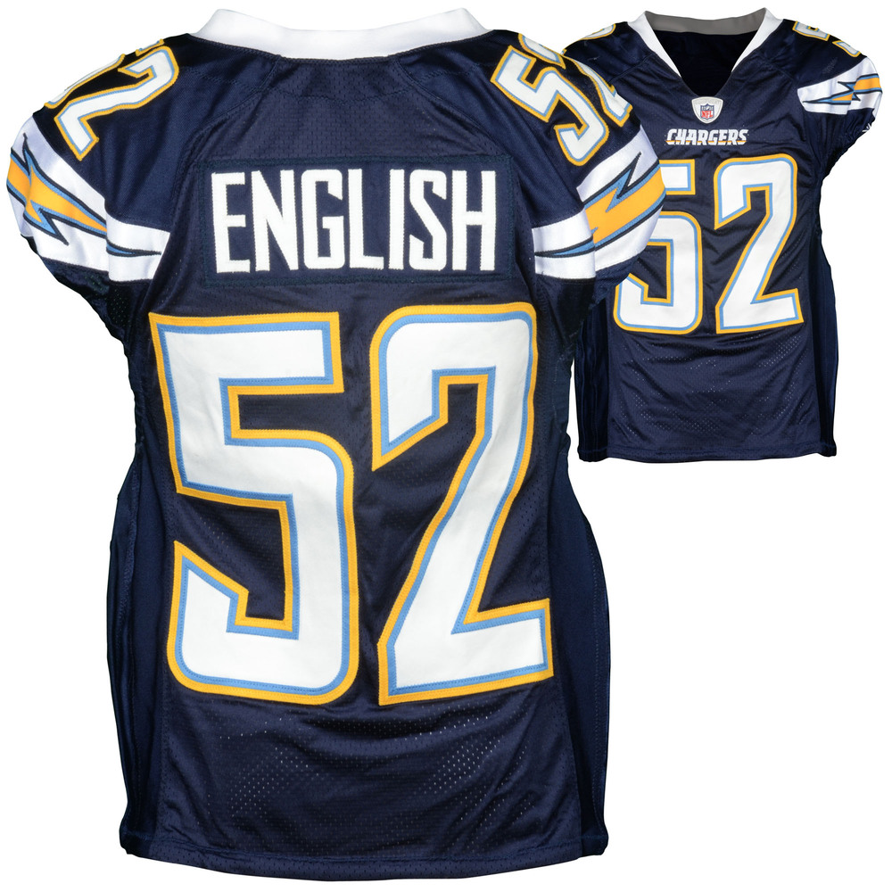 Larry English San Diego Chargers Game-Used Blue #52 Jersey from 2010 Season