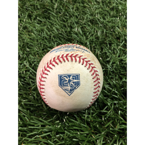 Photo of 20th Anniversary Game Used Baseball: Albert Pujols RBI (Trout Run) single off Ryan Yarbrough - July 31, 2018 v LAA