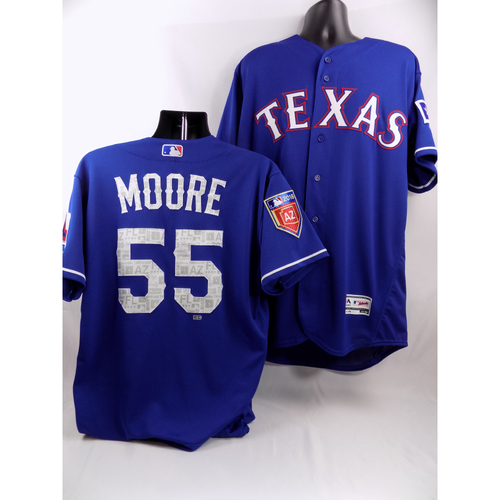 Photo of Blue Game-Used Spring Training Jersey - Matt Moore