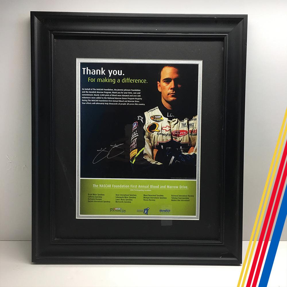 NASCAR's Jimmie Johnson autographed framed photo!