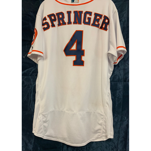 Photo of 2019 George Springer Game-Used Los Astros White Home Jersey - Size 46