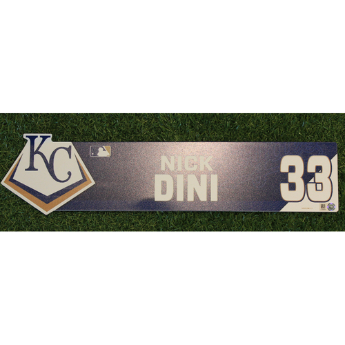 Photo of Game-Used Locker Nameplate: Nick Dini (ATL @ KC - 9/25/19)