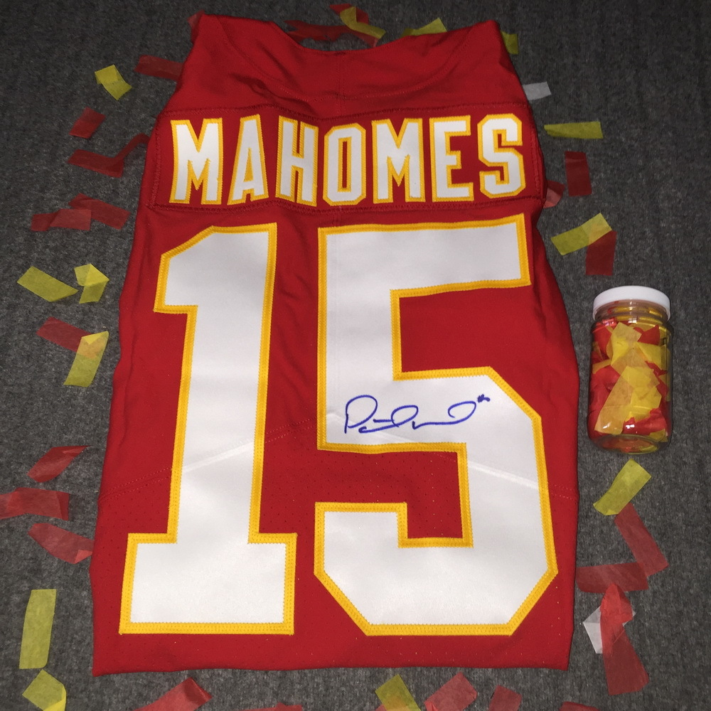 Chiefs Patrick Mahomes II Signed Authentic Jersey + A Jar Of Confetti From Chiefs Super Bowl LIV On Field Celebration