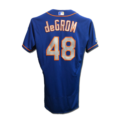 Photo of Jacob deGrom #48 - Team Issued Blue Alt. Road Jersey - 2019 Season