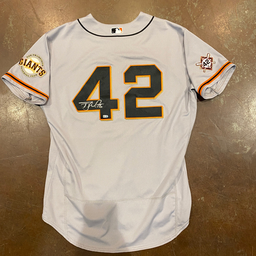 Photo of 2020 Jackie Robinson Day Jersey - Team Issued & Autographed - #56 Tony Watson - Size 50
