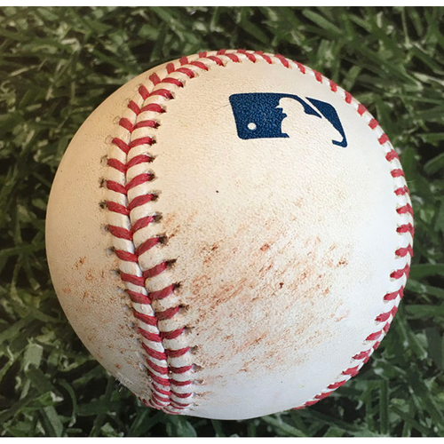 Photo of Game-Used Baseball CHC@MIL 09/12/20 - Brent Suter - Kyle Schwarber: Single