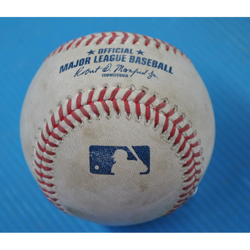 Photo of Game-Used Baseball - 2020 ALDS - New York Yankees vs. Tampa Bay Rays - Game 2 - Pitcher: Tyler Glasnow, Batter: Aaron Hicks (Single to LF) - Top 4