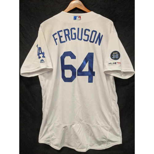 Photo of Caleb Ferguson Game-Used Home Jersey, Last Home Game of 2019