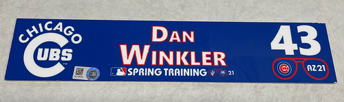 Photo of Dan Winkler 2021 Spring Training Locker Nameplate