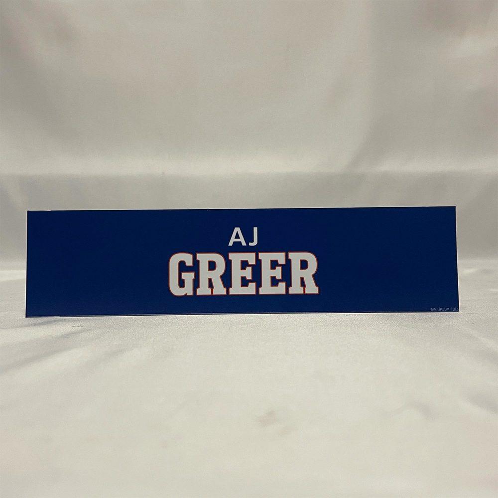 2020-21 Bridgeport Sound Tigers Locker Room Nameplate - #12 AJ Greer