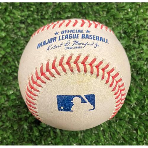 Photo of Eddie Rosario Hit Single Baseball off Hunter Strickland - 10/12/21- NLDS Game 4, Braves Win NLDS