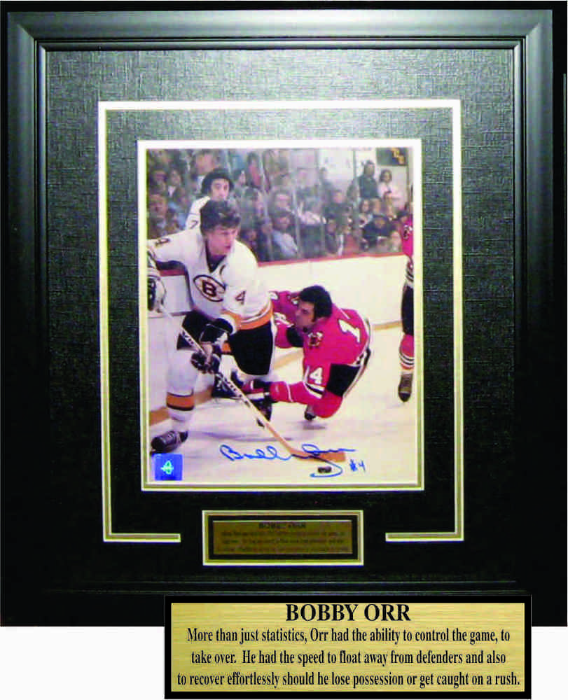 Bobby Orr - Signed & Framed 8x10 Etched Mat - Boston Bruins Action vs. Chicago Blackhawks