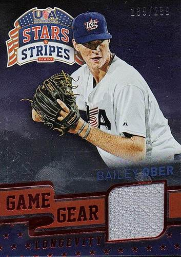 Photo of 2015 USA Baseball Stars and Stripes Game Gear Materials Longevity Ruby #11 Bailey Ober/299