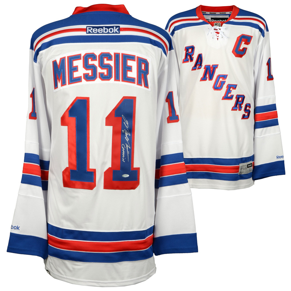 Mark Messier New York Rangers Autographed White Reebok Jersey with Captain Inscription - Steiner Sports