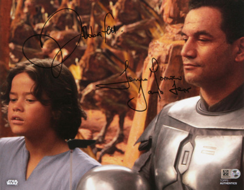 Daniel Logan as Boba Fett and Temeura Morrison as Jango Fett 8x10 Dual Autographed In Black Ink Photo