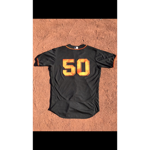 Photo of San Francisco Giants - 2017 Game-Used Jersey - #50 Ty Blach - Black Alt - Worn 8/7 & 8/19 - Jersey Size 46