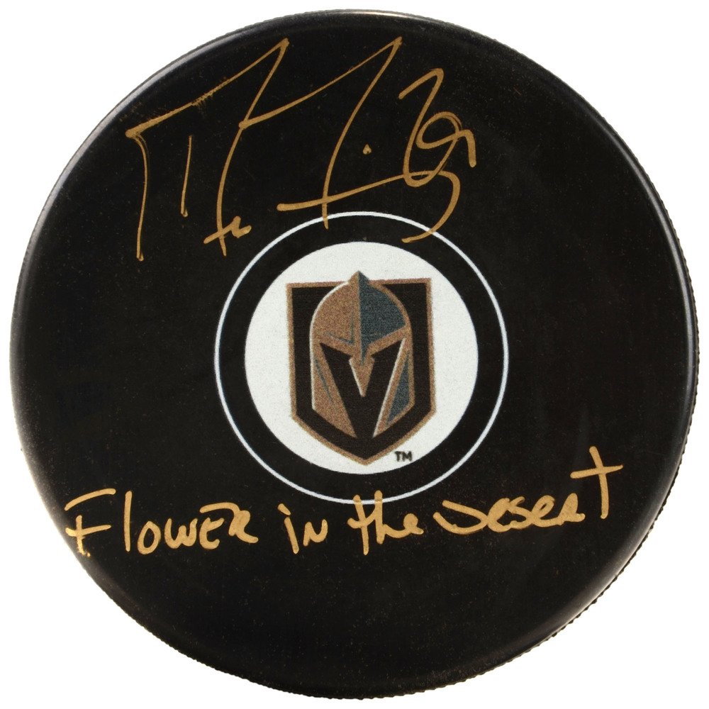 Marc-Andre Fleury Vegas Golden Knights Autographed Hockey Puck with Flower In The Desert Inscription