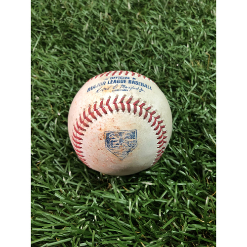 Photo of 20th Anniversary Game Used Baseball: Kevin Kiermaier RBI triple off Tyler Skaggs - July 31, 2018 v LAA