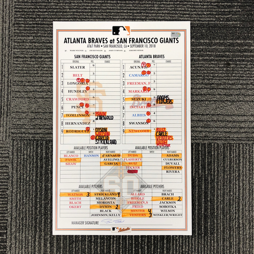 Photo of 2019 San Francisco Giants Replica Lineup Card (April) - PRESALE: Choose your Game Date!