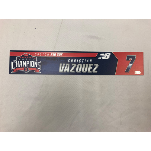 Photo of Christian Vazquez Game Used April 9, 2019 Locker Tag - Blue Jays at Red Sox