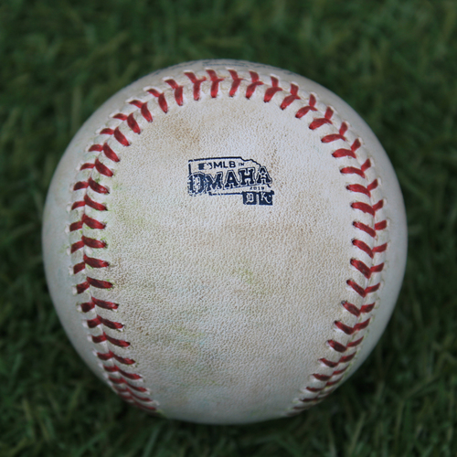 Photo of Game-Used Baseball: MLB in Omaha - Miguel Cabrera 2,740th Career Hit and Brandon Dixon 56th Career Hit (DET @ KC - 6/13/19)